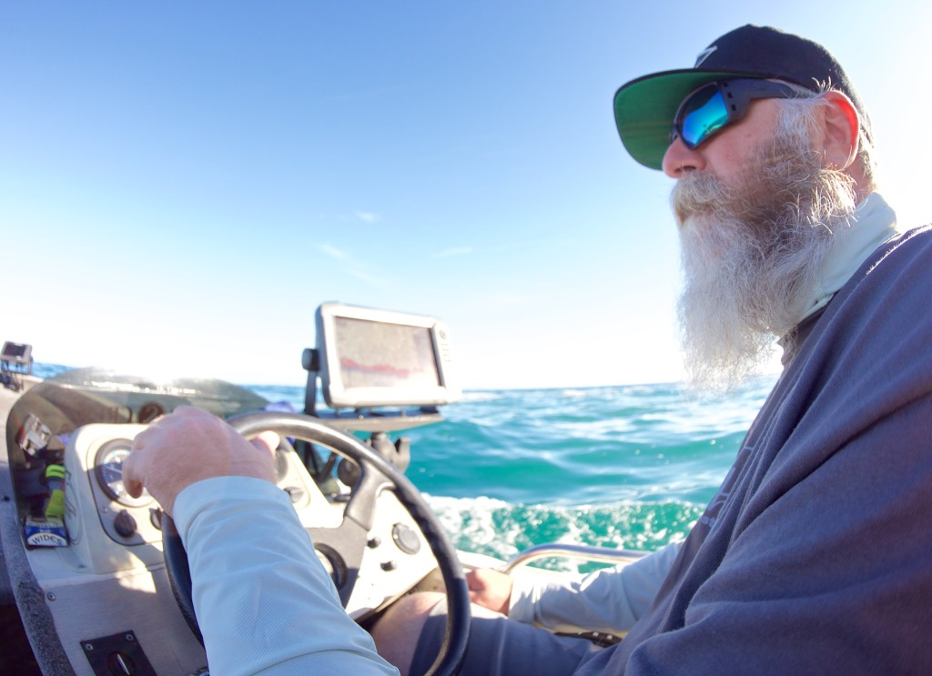 Brian surveys the seascape as we slide into another section of chewy water.